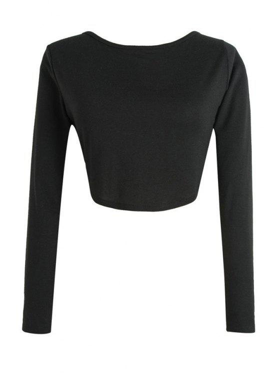 fashion Pure Color Long Sleeve Crop Top - BLACK S