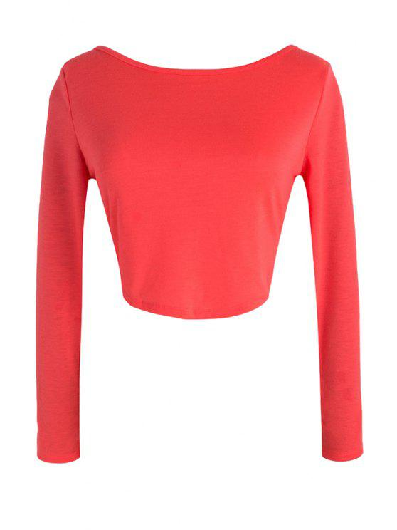 ae0e25fdbd9 34% OFF] 2019 Pure Color Long Sleeve Crop Top In RED   ZAFUL