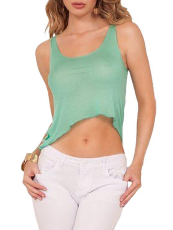 fancy Pure Color Sleeveless Crop Top - LIGHT GREEN S
