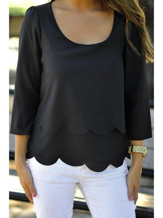 shop Pure Color 3/4 Sleeve Backless T-Shirt - BLACK XL