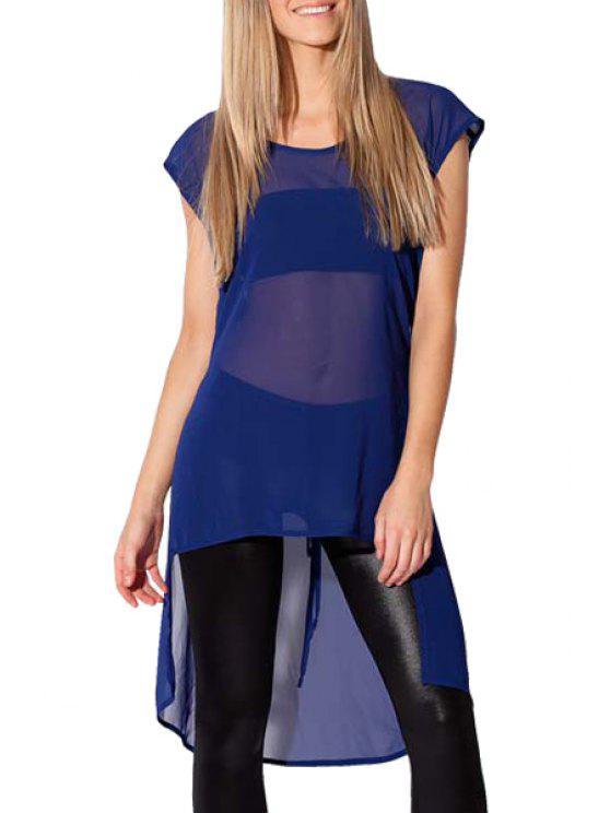 online See-Through Chiffon Short Sleeve Blouse - BLUE S