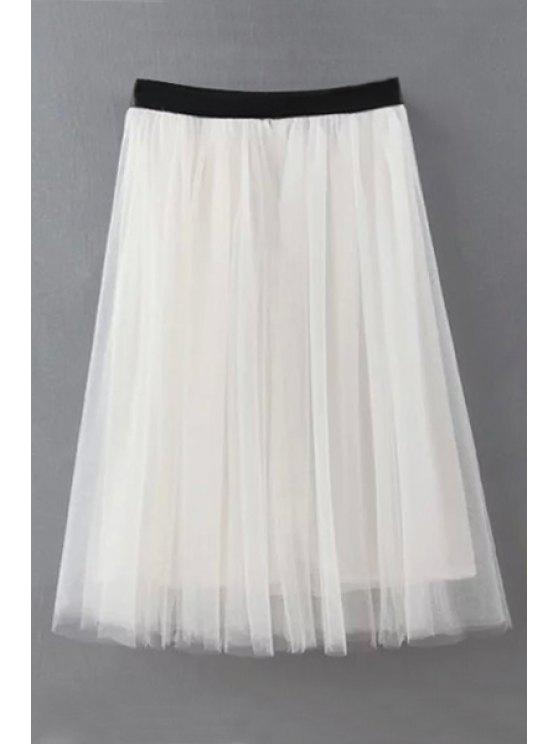 women's Voile Splicing Faux Leather Skirt - WHITE S