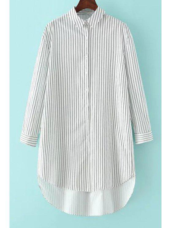 buy Stripe High Low Long Sleeve Shirt - WHITE AND BLACK ONE SIZE(FIT SIZE XS TO M)