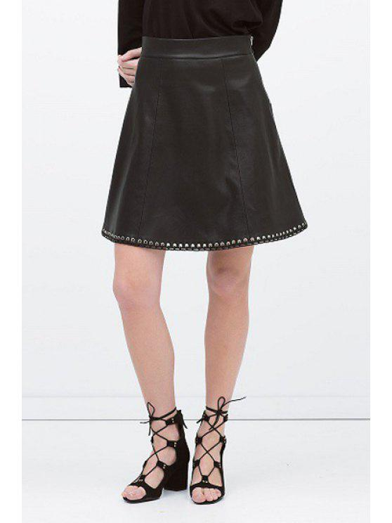 sale PU Leather A Line Zipper Fly Skirt - BLACK S