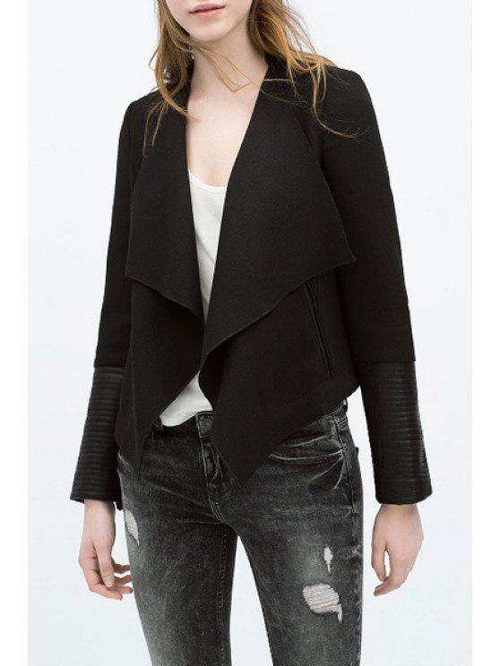 best Golilla Faux Leather Splicing Long Sleeve Coat - BLACK S