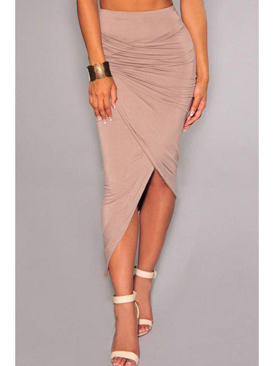 chic Solid Color Ruched Asymmetrical Midi Skirt - COMPLEXION ONE SIZE(FIT SIZE XS TO M)