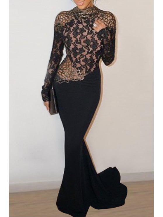 fancy Lace Spliced Open Back Black Fishtail Dress - BLACK ONE SIZE(FIT SIZE XS TO M)