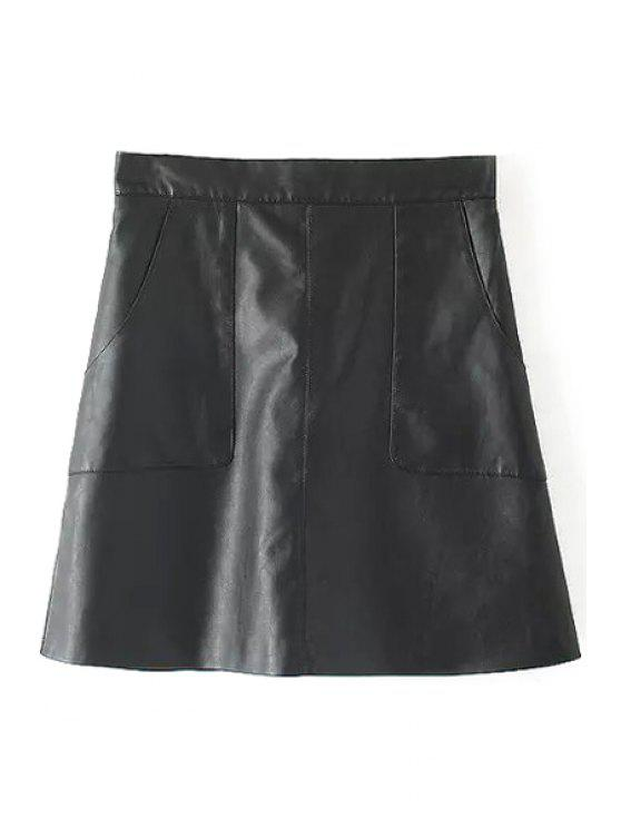 outfit PU Leather Solid Color Skirt - BLACK S
