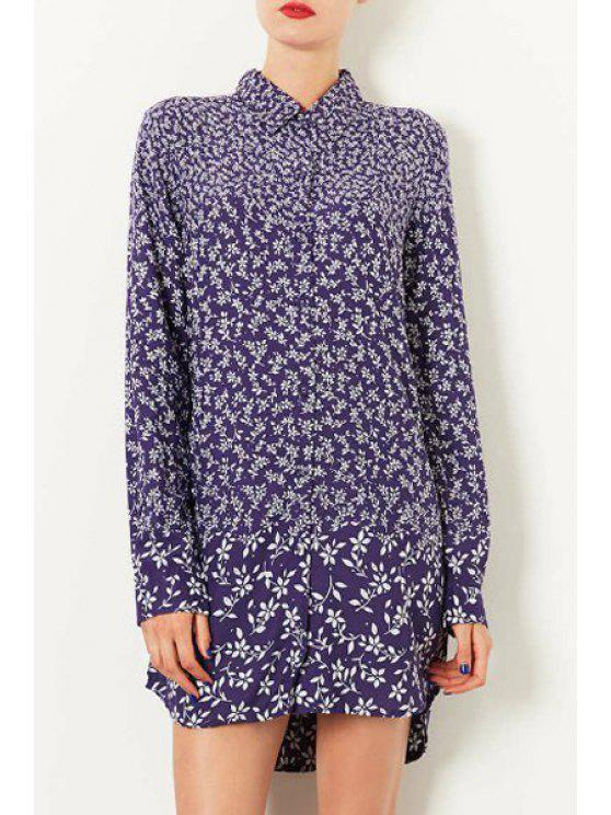 outfit High Low Tiny Floral Print Long Sleeve Shirt - BLUE AND WHITE S