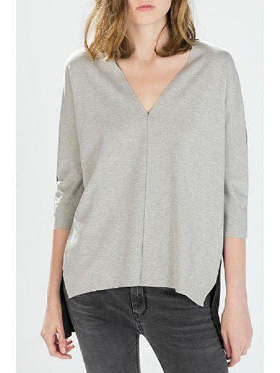 sale Color Block Spliced High-Low Hem T-Shirt - BLACK AND GREY M