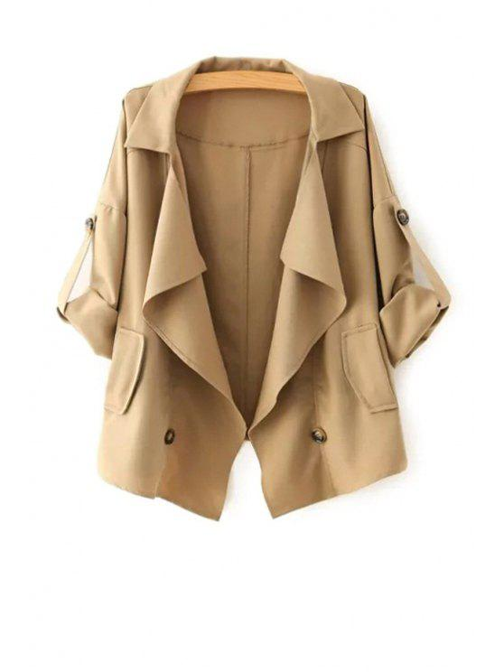 hot Golilla Solid Color Buttons Long Sleeve Trench Coat - KHAKI M