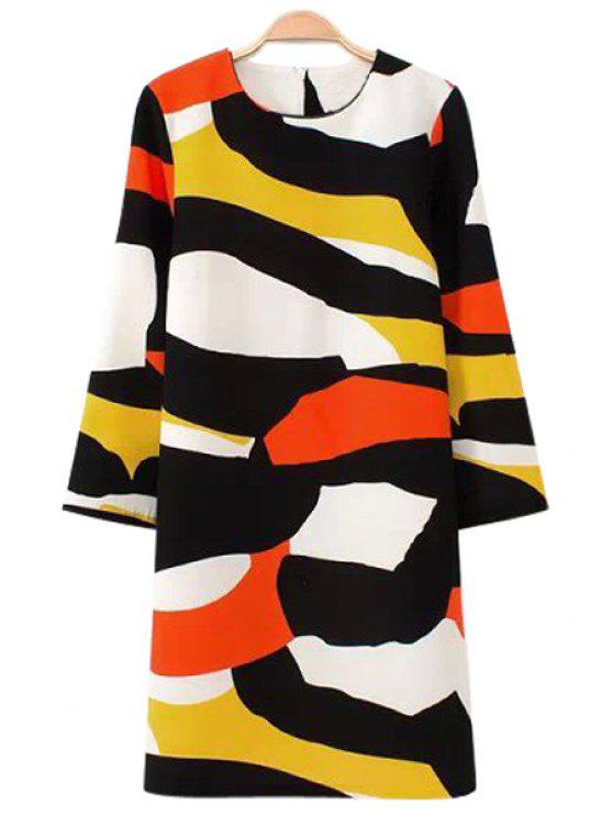 outfits Color Block Printed 3/4 Sleeve Dress - COLORMIX S