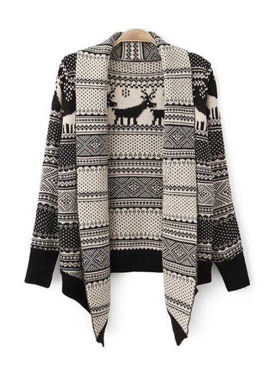 buy Deer Pattern Stripe Long Sleeve Cardigan - WHITE AND BLACK ONE SIZE(FIT SIZE XS TO M)