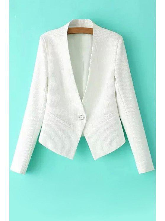 trendy One Button Solid Color Long Sleeve Blazer - WHITE S