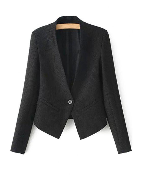 fancy One Button Solid Color Long Sleeve Blazer - BLACK S