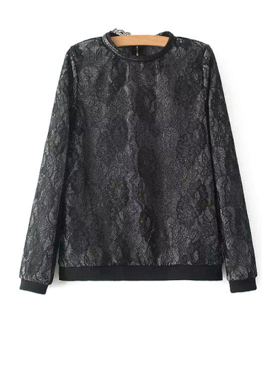 chic Stand-Up Collar Lace Jacquard Zipper Sweatshirt - BLACK S