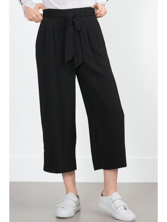 ladies Solid Color Tie-Up Elastic Waist Pants - BLACK XS