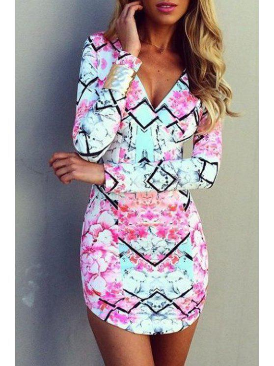 best Floral Print Packet Buttocks Bodycon Dress - PINK S