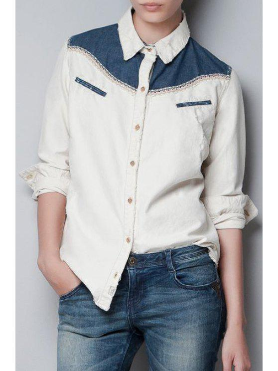 affordable Turn-Down Collar Denim Splicing Long Sleeve Shirt - OFF-WHITE S