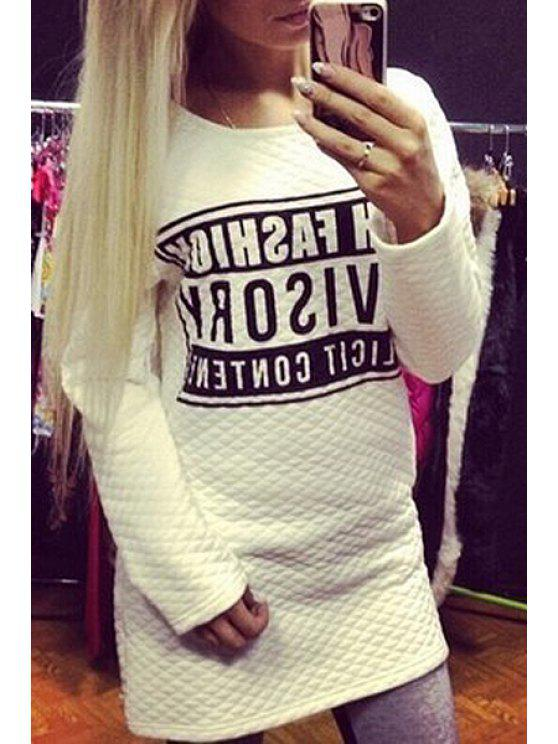 trendy Letters Print Long Sleeves Sweatshirt - WHITE S