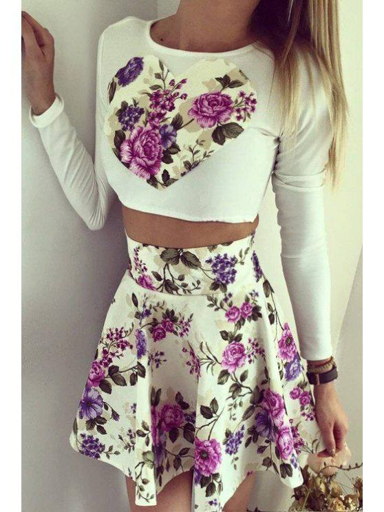 chic Floral Print Long Sleeve Crop Top and A Line Skirt Suit - WHITE AND PURPLE S