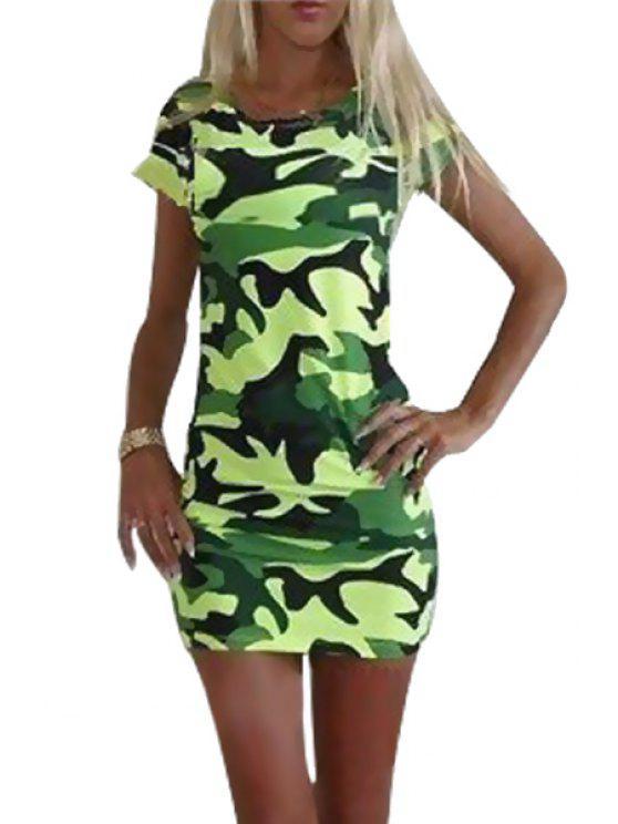 latest Camouflage Print Short Sleeve Dress - GREEN S