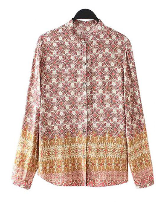 chic Stand-Up Collar Floral Pattern Long Sleeve Shirt - COLORMIX S