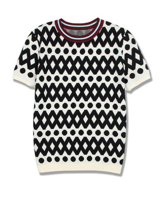 womens Geometric Pattern Short Sleeve Knit T-Shirt - WHITE AND BLACK ONE SIZE(FIT SIZE XS TO M)