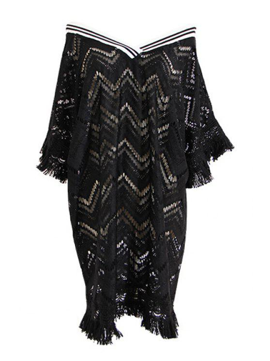 outfit Lace Hollow V Neck Half Sleeve Dress - BLACK ONE SIZE(FIT SIZE XS TO M)
