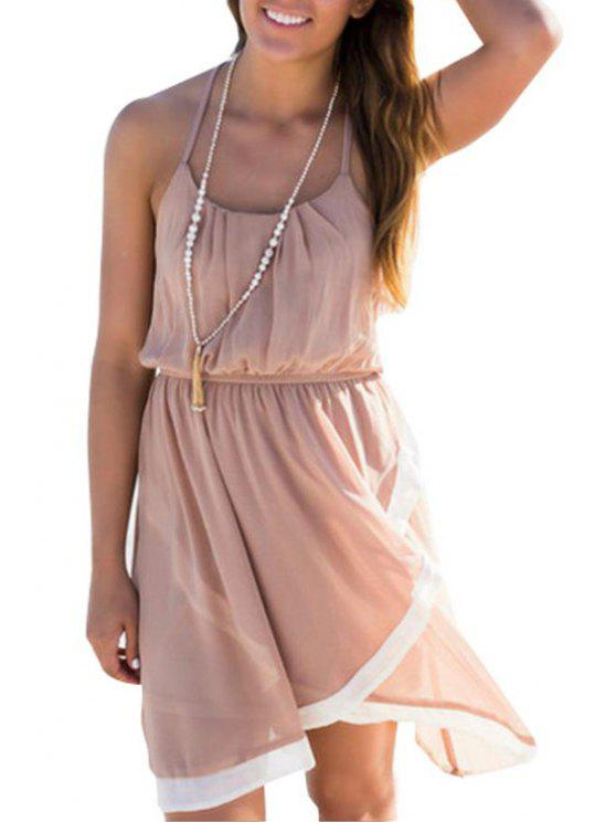 online Color Block Open Back Asymmetric Midi Dress - PINK S