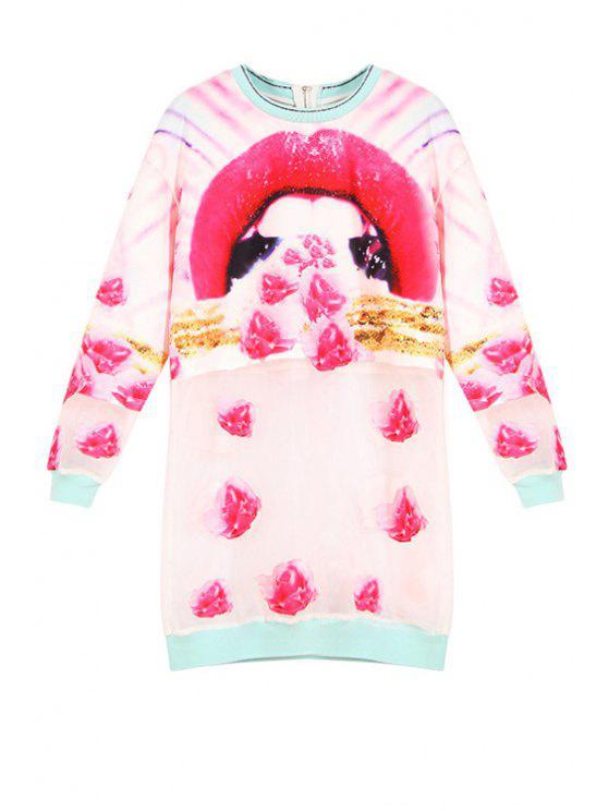 hot Lip Print Round Neck Long Sleeve Dress - ROSE S