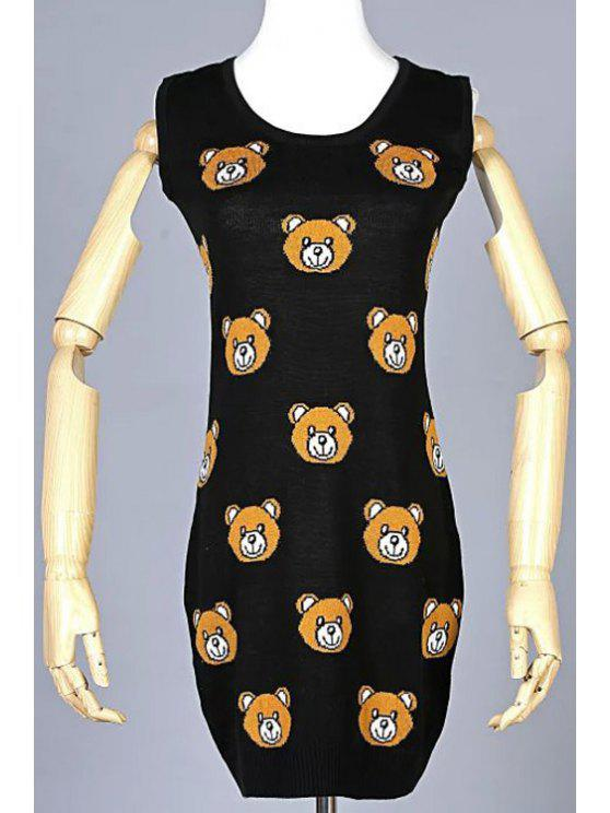 outfit Scoop Neck Bear Cub Pattern Sleeveless Dress - BLACK S