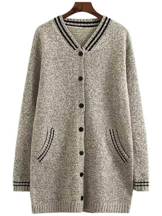 chic V-Neck Color Block Stripe Cardigan - LIGHT GRAY ONE SIZE(FIT SIZE XS TO M)