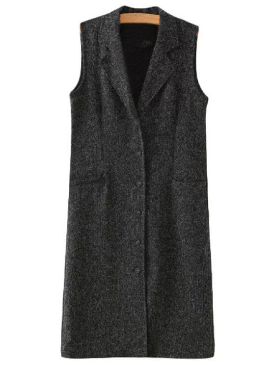 sale Lapel Single-Breasted Pocket Sleeveless Waistcoat - DEEP GRAY L