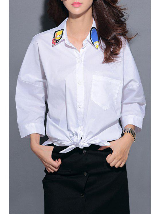 sale Shirt Neck Characters Pattern Shirt - WHITE ONE SIZE(FIT SIZE XS TO M)