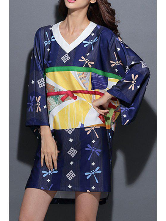 outfits Dragonfly Print 3/4 Sleeve V Neck Dress - DEEP BLUE ONE SIZE(FIT SIZE XS TO M)