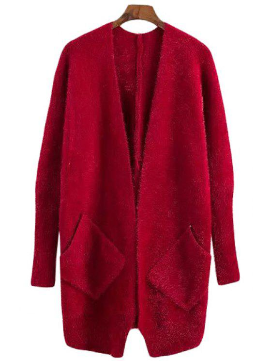 fancy Solid Color Mohair Long Sleeve Cardigan - RED ONE SIZE(FIT SIZE XS TO M)