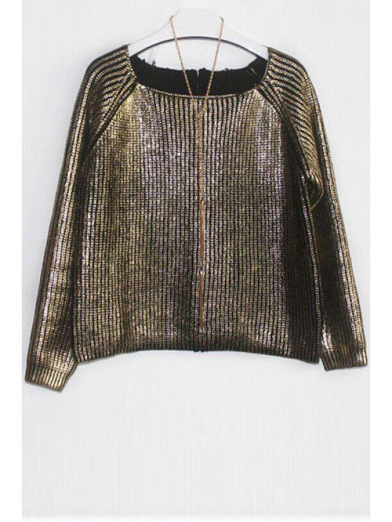 chic Loose-Fitting Knitted Sparkle and Glitter Sweater - GOLDEN ONE SIZE(FIT SIZE XS TO M)