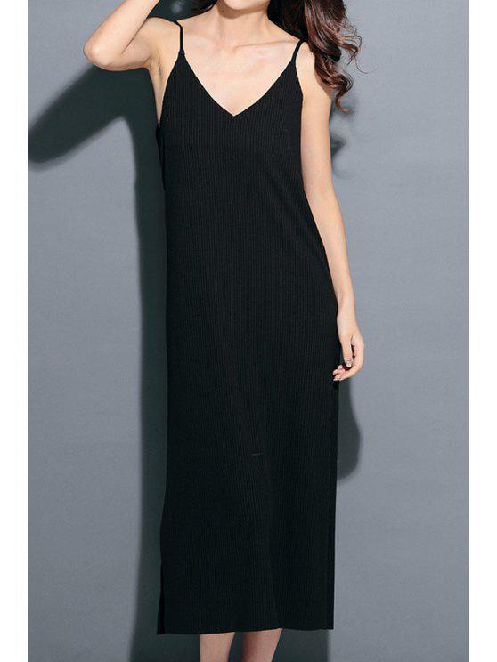 outfit Solid Color Straight Cami Maix Dress - BLACK ONE SIZE(FIT SIZE XS TO M)