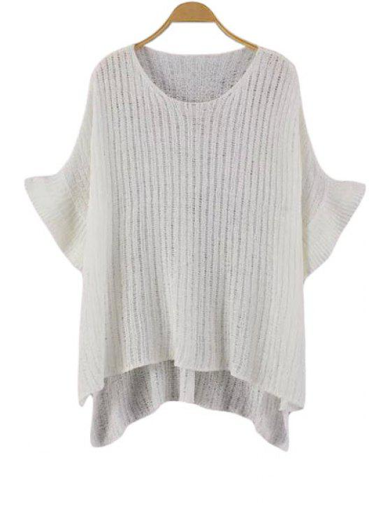 affordable Solid Color High Low Half Sleeve Sweater - WHITE ONE SIZE(FIT SIZE XS TO M)