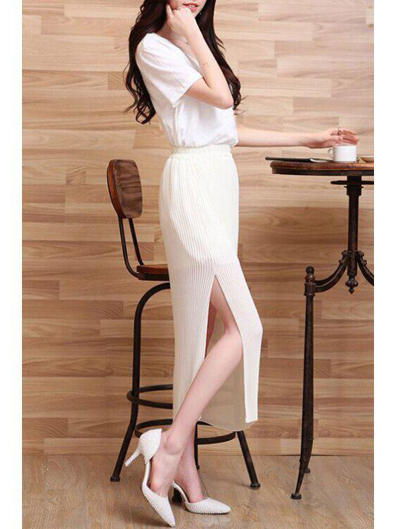 buy Solid Color Side Slit Pleated Long Chiffon Skirt - WHITE ONE SIZE(FIT SIZE XS TO M)
