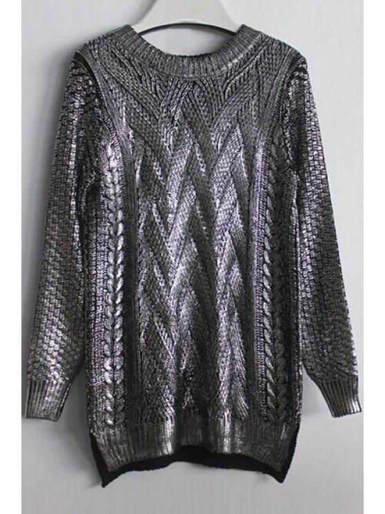 fashion High-Low Hem Sparkle and Glitter Sweater - SILVER ONE SIZE(FIT SIZE XS TO M)