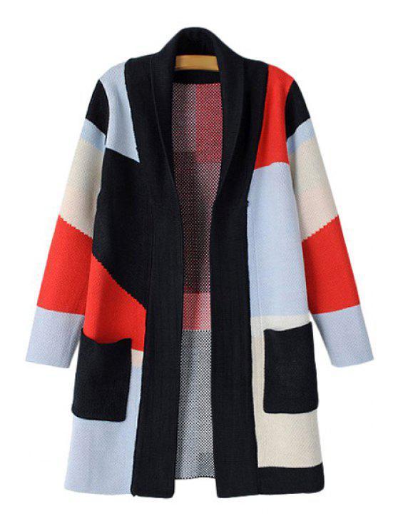 hot Geometric Color Block Long Sleeve Cardigan - COLORMIX S