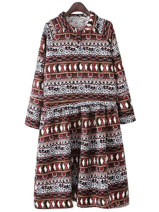 shops Turn-Down Collar Argyle Pattern Printed Dress - COLORMIX S