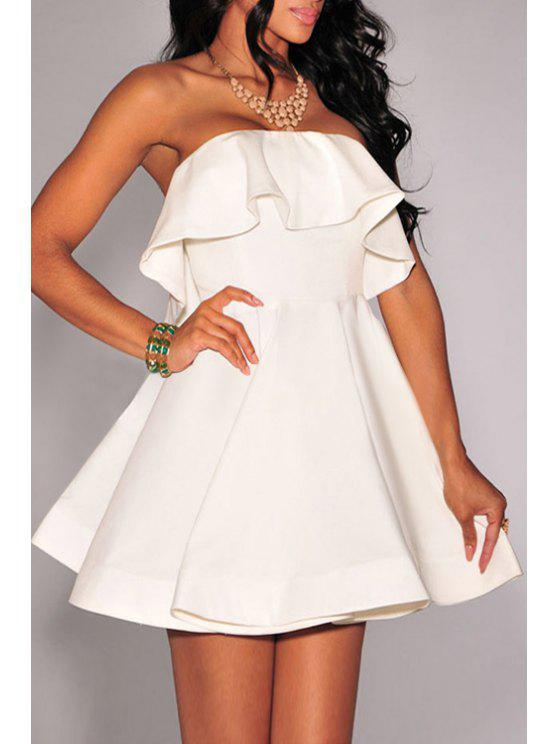 affordable Pure Color Strapless Flare Dress - WHITE M