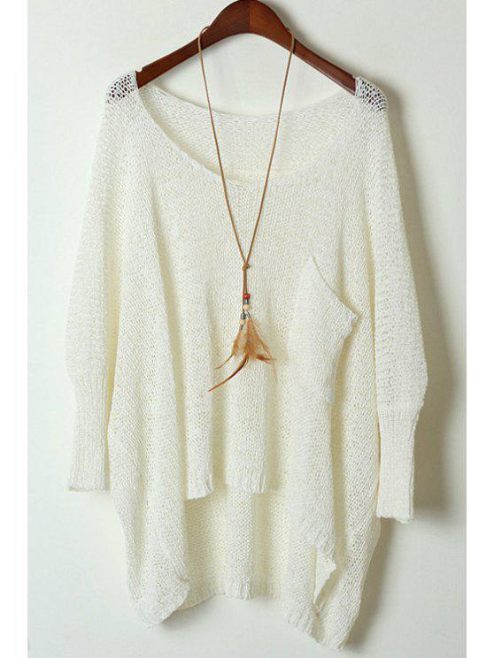 Open Knit Scoop Neck Oversized Sweater WHITE: Sweaters ONE SIZE ...