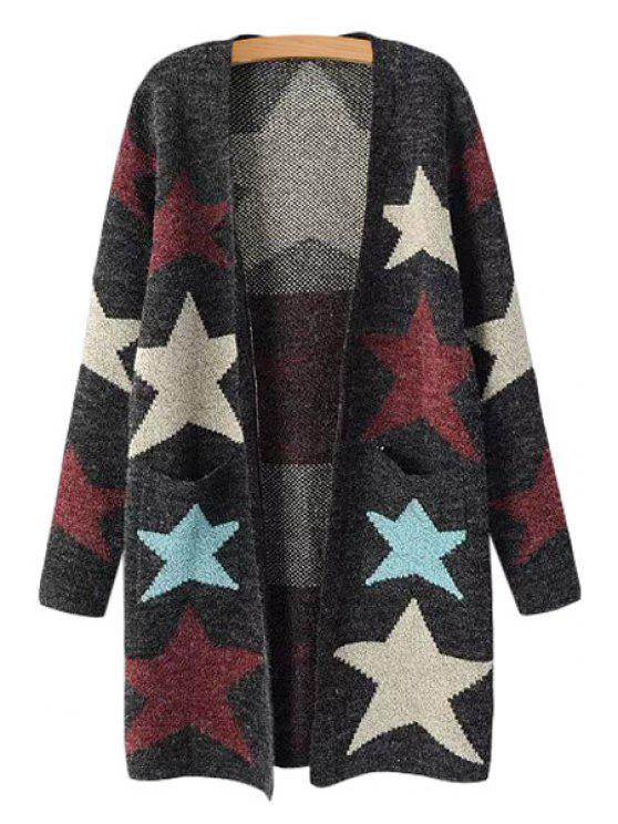 shop Colorful Star Pattern Long Sleeve Cardigan - AS THE PICTURE ONE SIZE(FIT SIZE XS TO M)