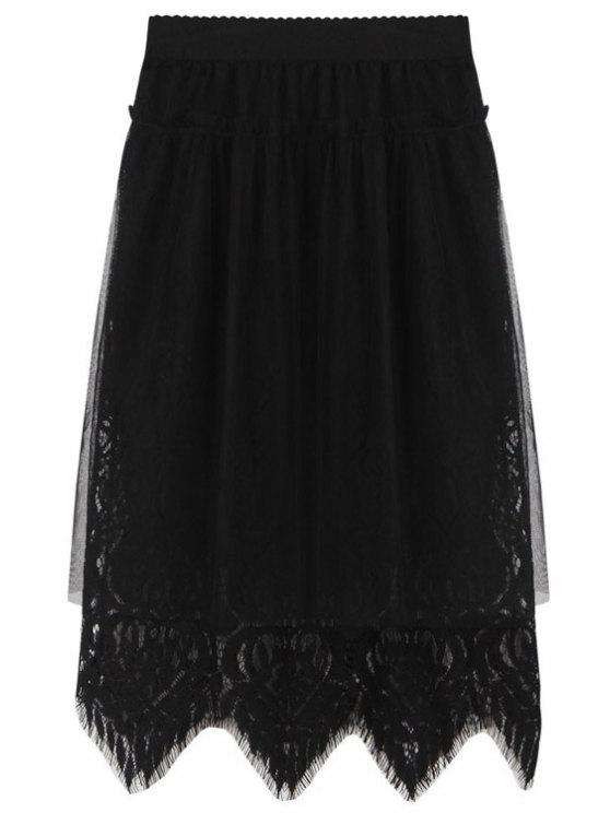 hot Openwork Lace Hook Voile Splicing Black Skirt - BLACK ONE SIZE(FIT SIZE XS TO M)