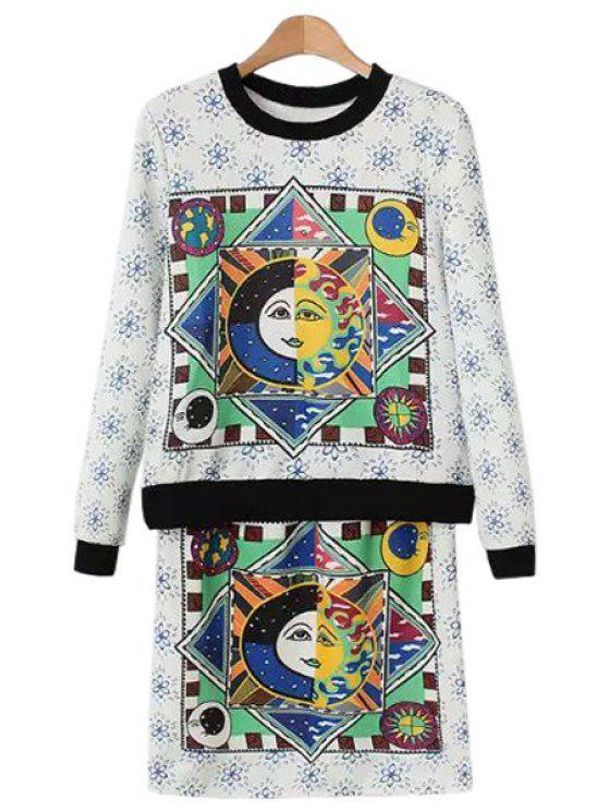 shops Figure Floral Print Long Sleeve Sweatshirt + Skirt - WHITE S
