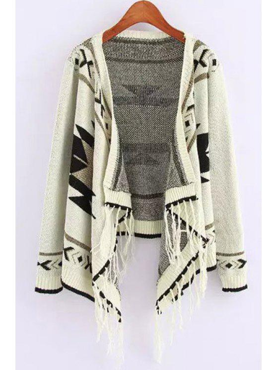 shops Turn-Down Collar Geometric Pattern Fringe Cardigan - WHITE ONE SIZE(FIT SIZE XS TO M)